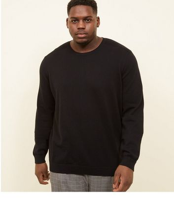 Plus Size Black Crew Neck Ribbed Shoulder Jumper
