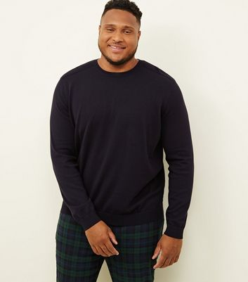 Plus Size Navy Crew Neck Ribbed Shoulder Jumper