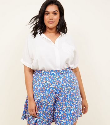 Curves Blue Floral Print Wide Leg Shorts