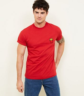 Red Fries Embroidered Logo T-Shirt