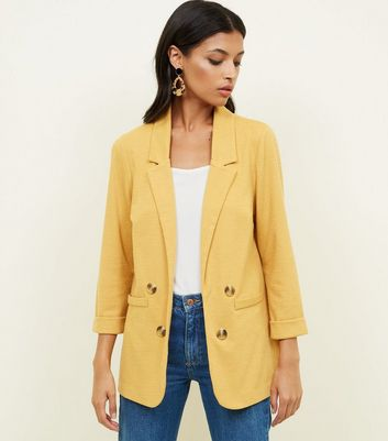 Yellow Cross Hatch Double Breasted Stretch Blazer