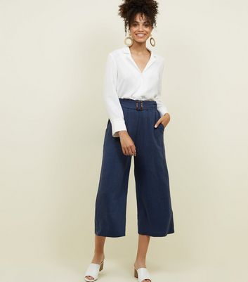 Navy Linen-Look Belted Culottes