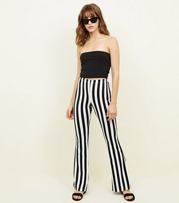 Black and White Stripe Flared Trousers