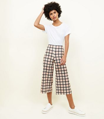 Stone Check Cropped Scuba Trousers
