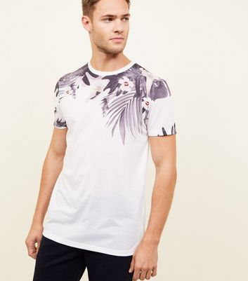 White Tropical Floral Short Sleeve T-Shirt
