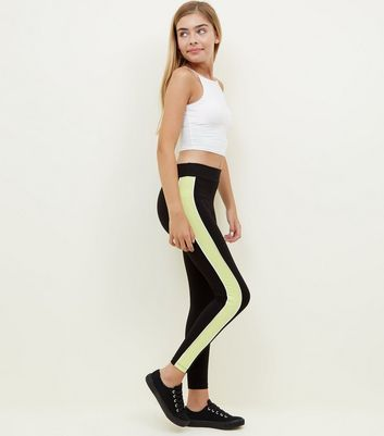 Teens Yellow Side Stripe Leggings