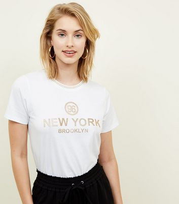 White 96 New York Glitter Print T-Shirt