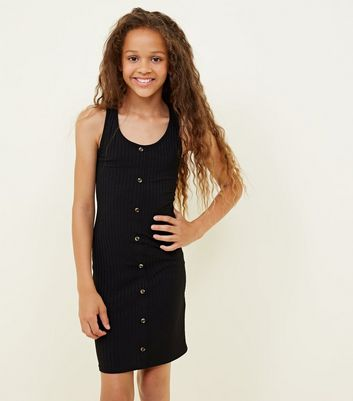 Teens Black Button Front Ribbed Bodycon Dress