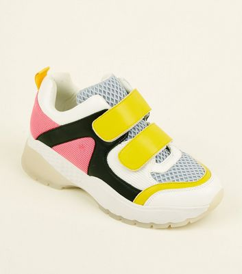 Pink Limited Edition Colour Block Strap Chunky Trainers