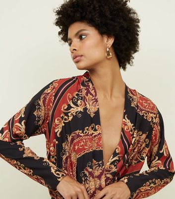 Black Baroque Print Wrap Front Bodysuit