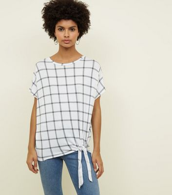 White Grid Check Tie Side T-Shirt