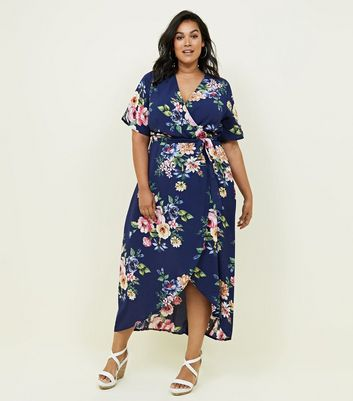Curves Blue Floral Dip Hem Wrap Dress