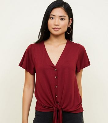 Petite Button Through Tie Front T-Shirt