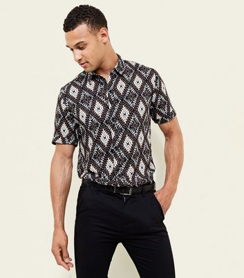Brown Aztec Print Short Sleeve Shirt