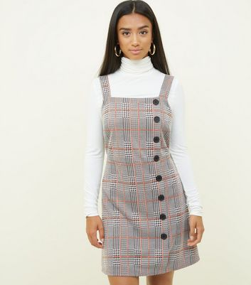 Petite Grey Check Button Side Pinafore Dress
