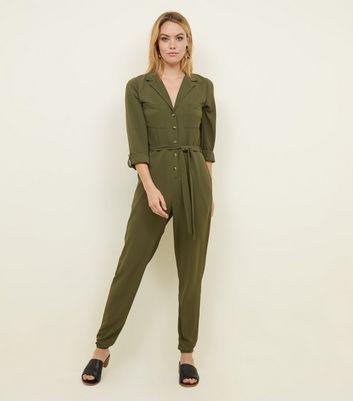 Tall Khaki Button Front Crepe Jumpsuit