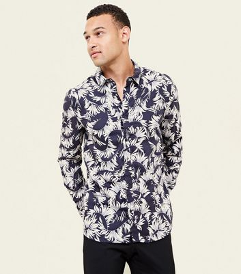 Navy Feather Print Long Sleeve Shirt