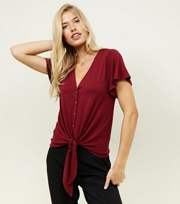 Tall Burgundy Tie Front Button Through T-Shirt