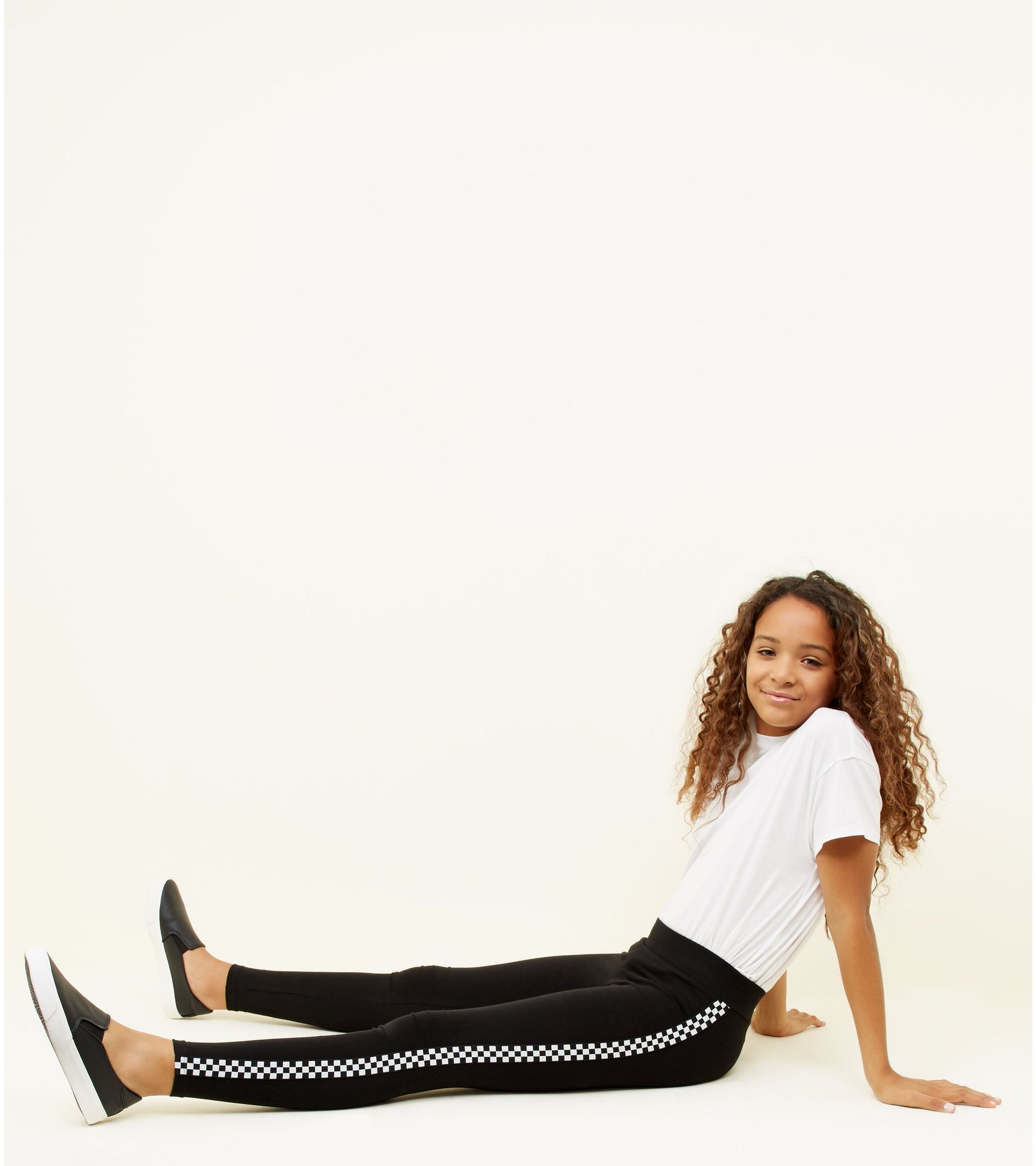 5f624005f66ec New Look Girls Black Checkered Side Stripe Leggings at £12.99 | love ...