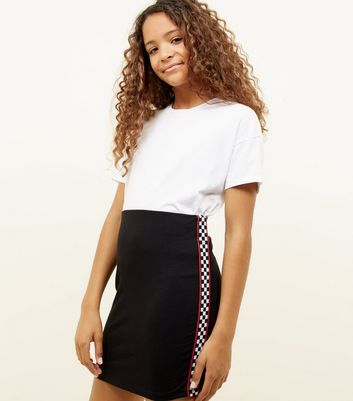 Girls Black Checkered Tape Tube Skirt