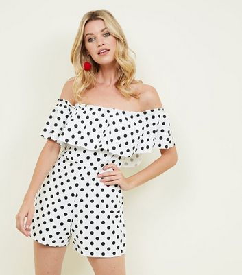 White Polka Dot Frill Bardot Neck Playsuit