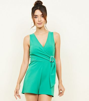 Green Diamanté Buckle Party Playsuit