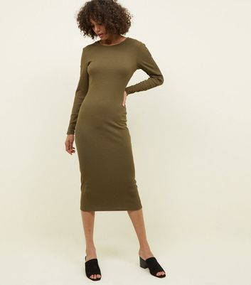 Khaki Ribbed Popper Sleeve Midi Dress