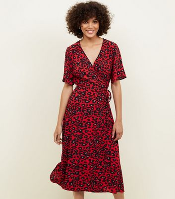 Red Animal Print Midi Wrap Dress
