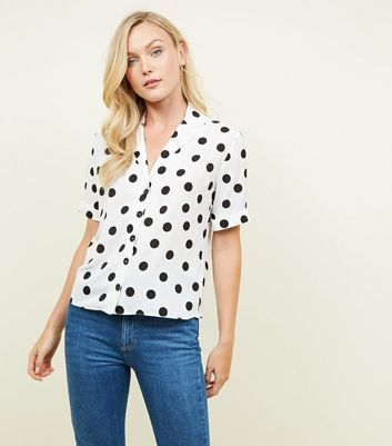 Black Polka Dot Short Sleeve Boxy Shirt