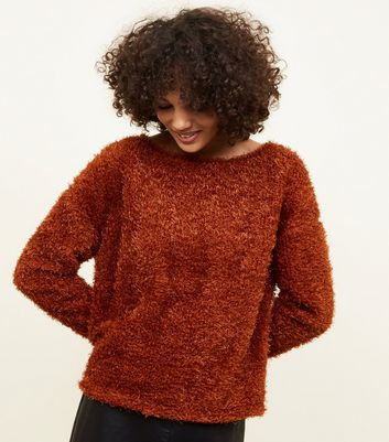 Rust Fluffy Fine Knit Slouchy Jumper