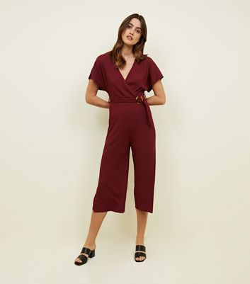 Plum Ribbed Belted Jumpsuit
