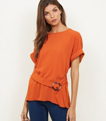 Orange Faux Horn Buckle Tie Front Top