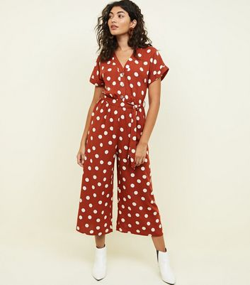 Rust Spot Print Button Front Jumpsuit