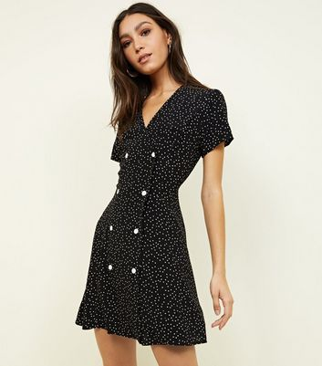 Black Spot Print Double Breasted Tea Dress