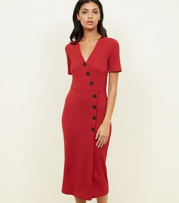 Red Ribbed Button Wrap Front Midi Dress