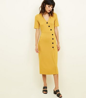 Mustard Ribbed Button Wrap Front Midi Dress