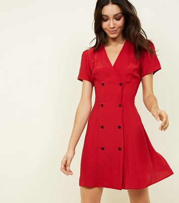 Red Double Breasted Tea Dress
