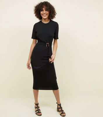 Black Ribbed Belted T-Shirt Midi Dress
