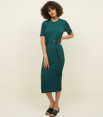 Dark Green Ribbed Belted T-Shirt Midi Dress