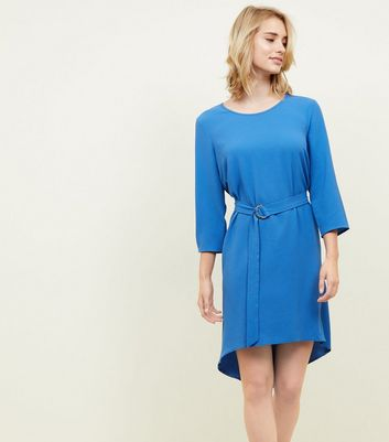 Blue Crepe Belted Dip Hem Tunic Dress