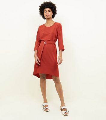 Rust Crepe Belted Dip Hem Tunic Dress