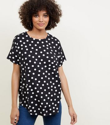 Black Polka Dot Short Sleeve T-Shirt