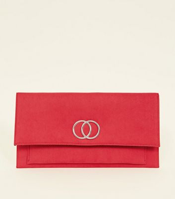 Red Ring Front Foldover Clutch