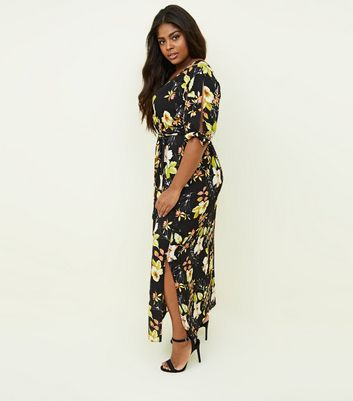 Curves Black Floral Tie Sleeve Maxi Dress