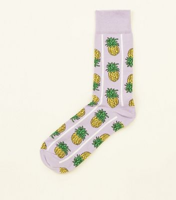 Lilac Pineapple Stripe Socks