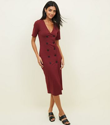 Plum Jersey Ribbed Double Breasted Button Dress