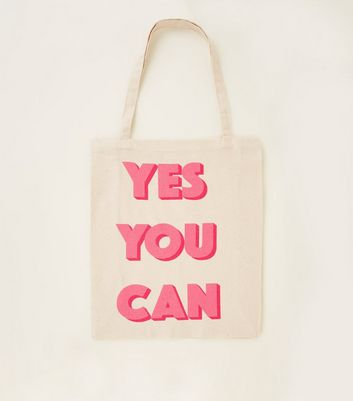 Stone Yes You Can Canvas Slogan Bag