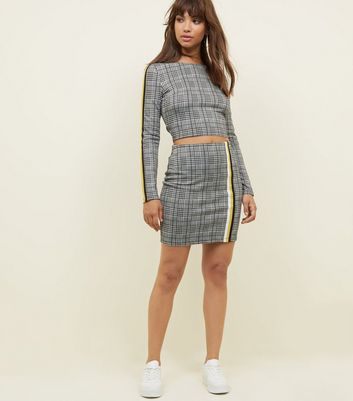 Black Check Print Tape Trim Mini Skirt