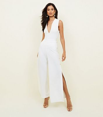 White Button Side Wide Leg Party Trousers