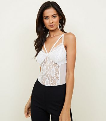 White Strappy Front Lace Bodysuit